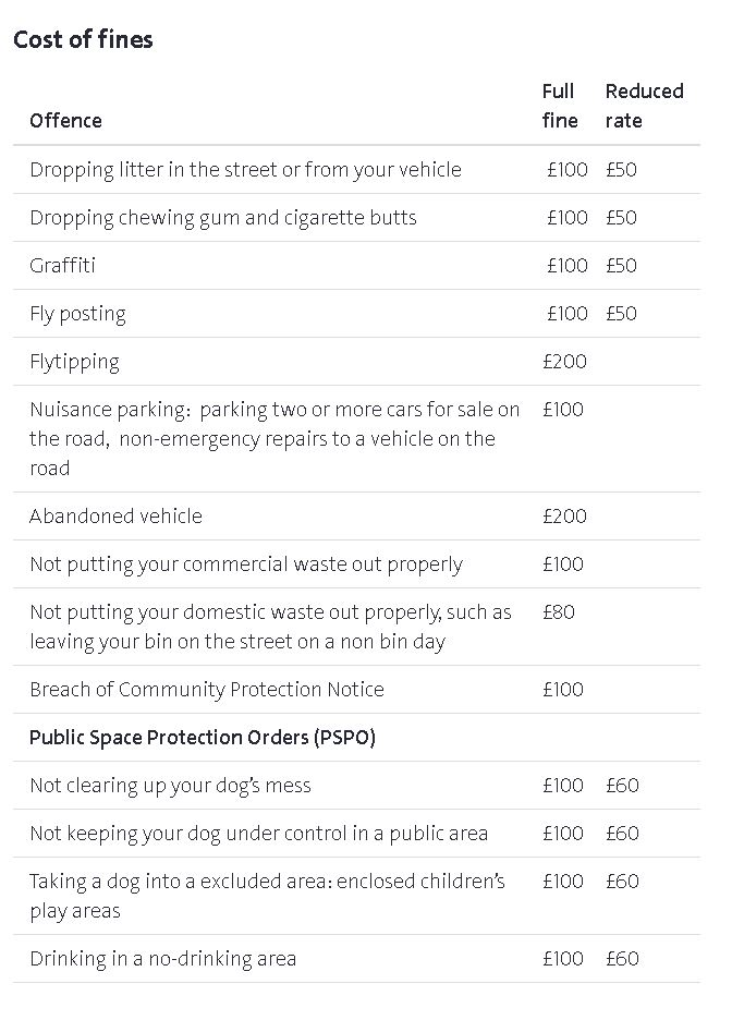 Littering fines in Bristol. Source: Bristol City Council.