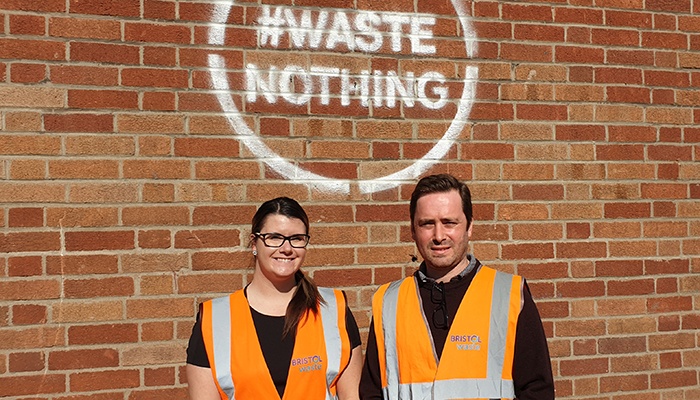 Communications Officer Sarah Hill and Community Engagement Ed Troughton of Bristol Waste.